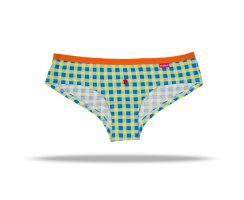 Unabux Hipster, yellow blue checkered with orange rubberband
